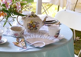 Afternoon tea setting at 1868 Crosby House in Brattleboro, Vermont