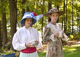two girls enjoying afternoon English tea at 1868 Crosby House in Brattleboro, Vermont