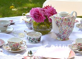 afternoon English tea setting at 1868 Crosby House in Brattleboro, Vermont