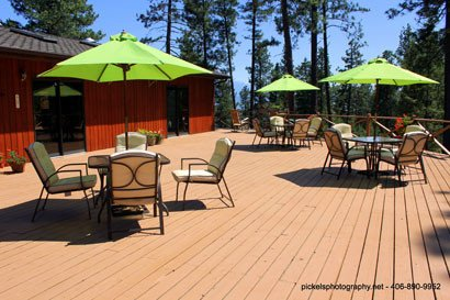 Large Timbered Deck at Swan Hill Bed and Breakfast in Polson Montana