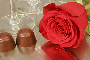 chocolates, roses and champagne at the Emerald Iguana in Ojai, California