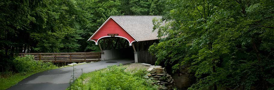 covered bridge in Flume Gorge near Adair in Bethlehem, New Hampshire