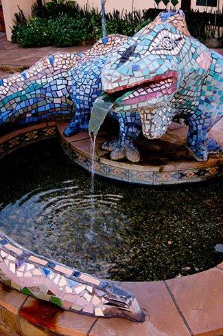 iguana fountain at Blue Iguana in Ojai, California
