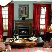 Fireplace at 66 Center in Eureka Springs, Arkansas