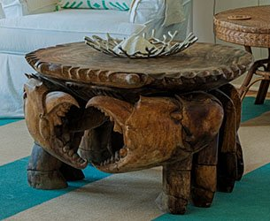 Hand Carved Wood Crab Table at Surf Song Bed and Breakfast on Tybee Island, Georgia