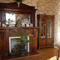 fireplace at Lockheart Gables in Fort Worth, Texas