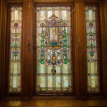 stained glass at Emig Mansion in Emigsville, Pennsylvania