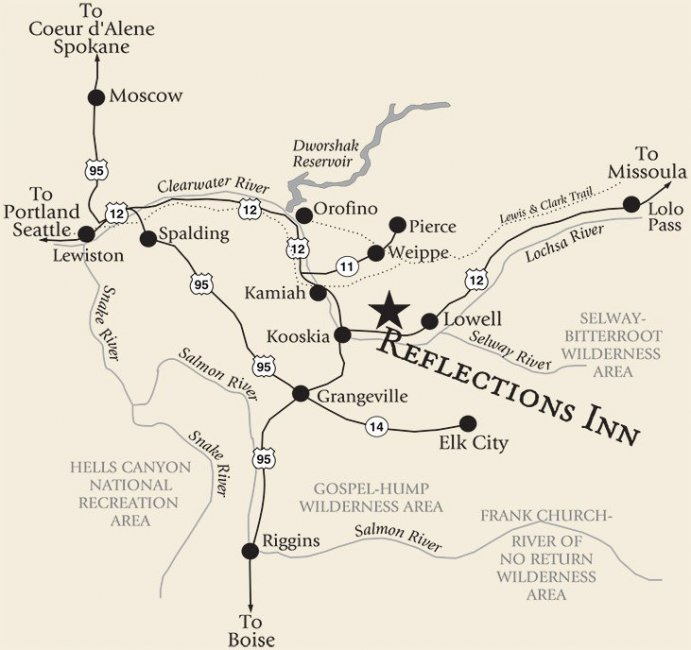 Detailed Map of Directions to Reflections Inn in Kooskia, Idaho