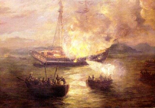 Burning of the Gaspee by Charles DeWolfe Brownel, Painted 1892