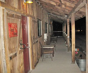 Porch at Trappers Rendezvous Guest Cabins in Williams Arizona