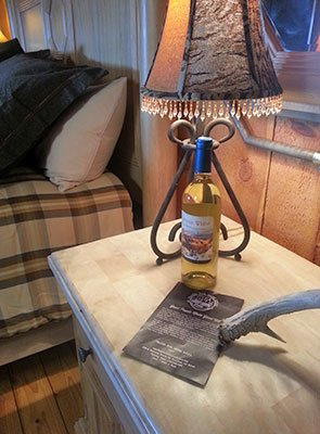 Side Table at Trappers Rendezvous Guest Cabins in Williams, Arizona