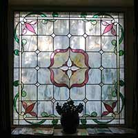 stained glass at Kangaroo House on Orcas Island, WA
