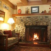 fireplace at Kangaroo House on Orcas Island, WA
