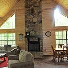 Living area in Sugar Shanti Cabin at Hochatown Junction in Broken Bow, OK