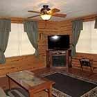 Living area in Triple Oaks Cabin at Hochatown Junction in Broken Bow, OK
