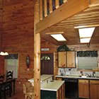 Kitchen area in Bear Necessities Cabin at Hochatown Junction in Broken Bow, OK