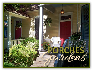 Porches and Gardens at Rosehaven Cottages in Little Rock