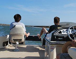 boating at fortuna bay