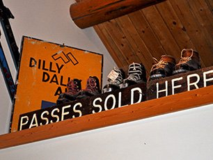 Skis Passes Sold Here Sign at Snowberry Inn in Eden, UT