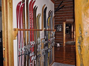 Wall of Skis at Snowberry Inn in Eden, UT