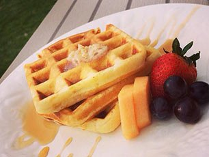 Waffles at Snowberry Inn in Eden, UT