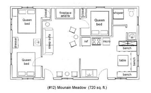 Mountain Meadow Cottage Layout