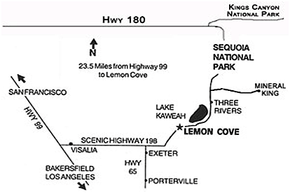 Directions Map to Plantation Bed and Breakfast in Lemon Cove, California