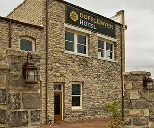 Exterior of Dofflemyer Hotel in San Saba, TX