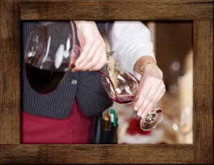 Waitress Pouring Wine in Traverse City, Michigan