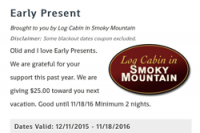 Log Cabin in Smoky Mountain Coupon
