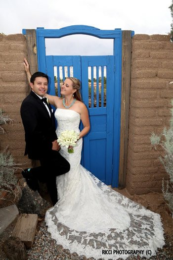Wedding Couple Blue Gate Chocolate Turtle in New Mexico