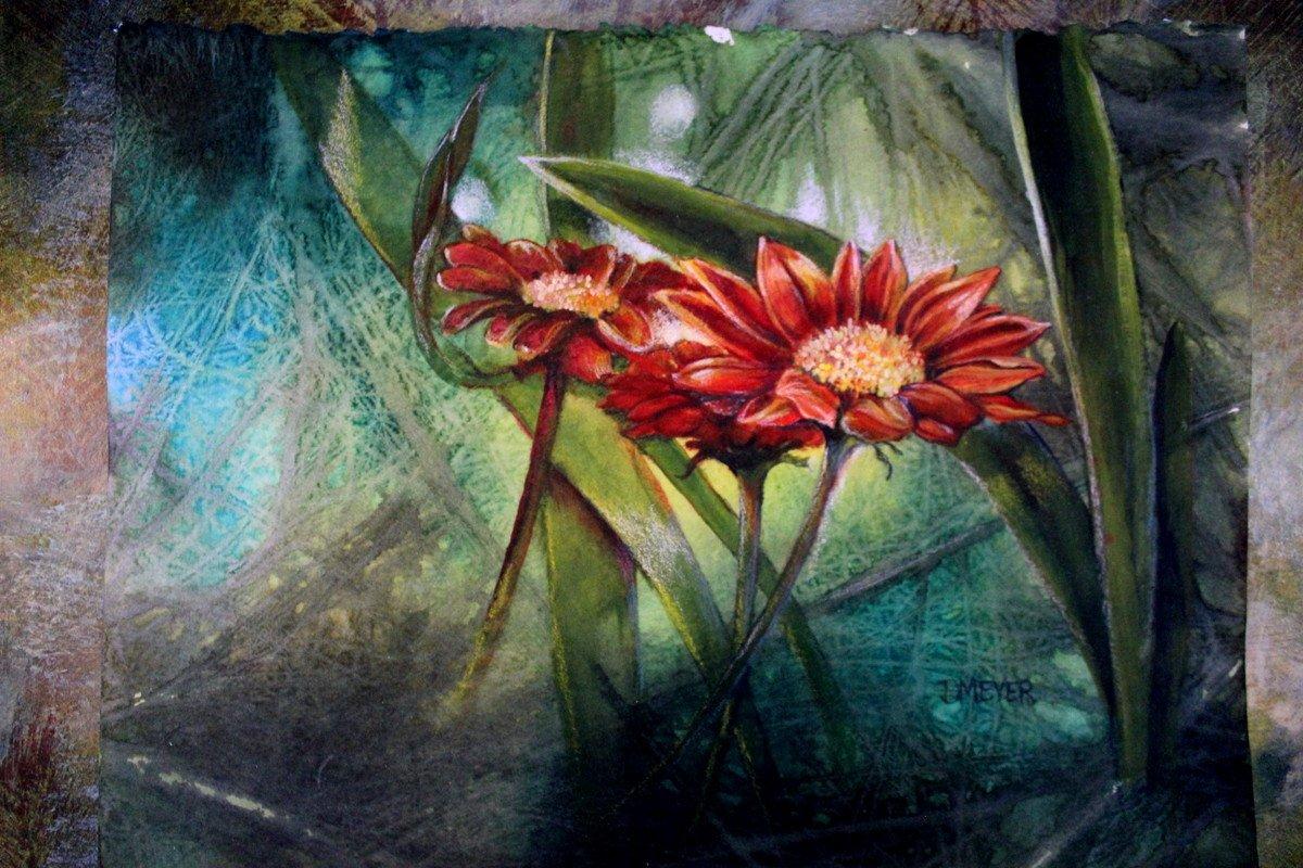 red flower painting by Deborah Meyer