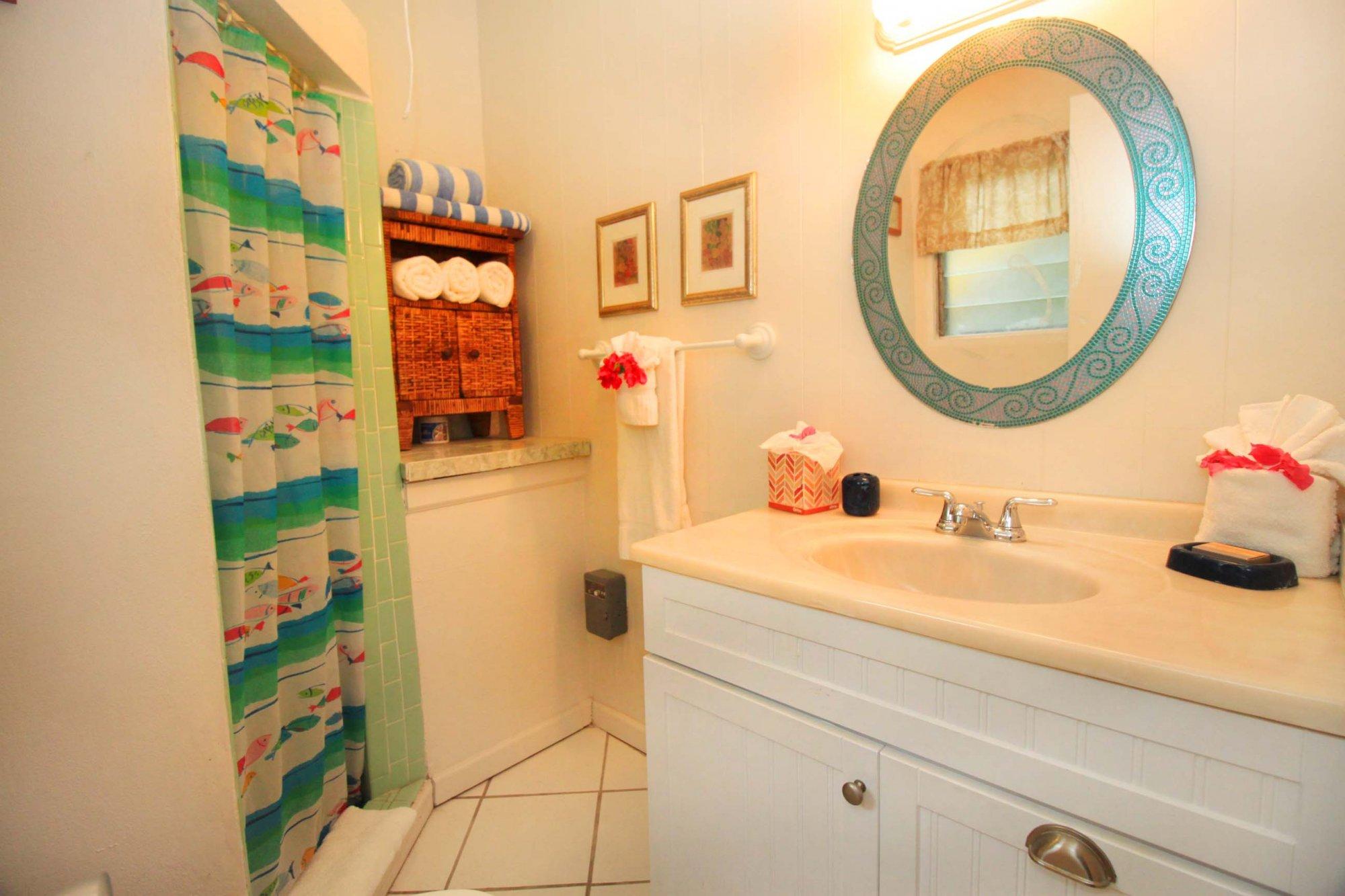 Bravo unit bathroom at Serendip Vacation Condos