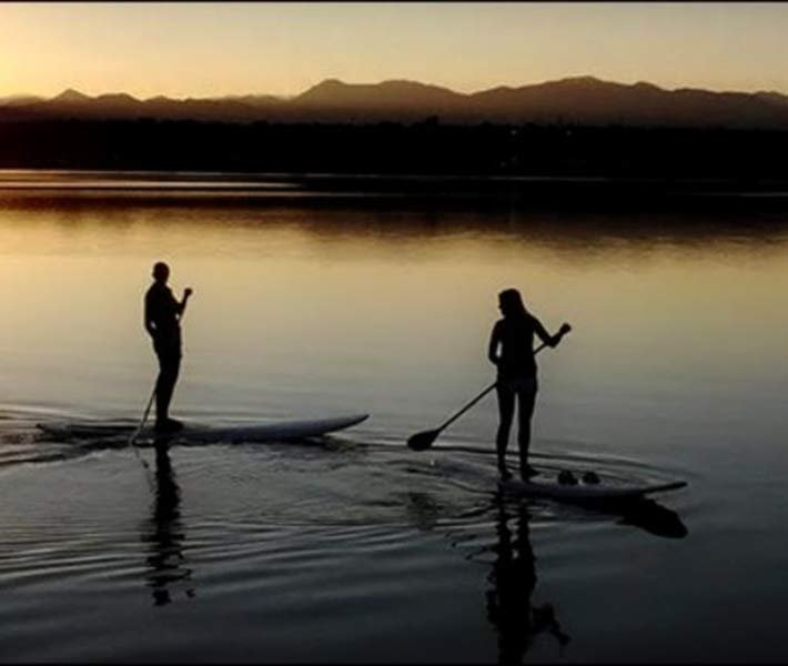 Paddleboarding near Gold Mountain Manor in Big Bear Lake, CA