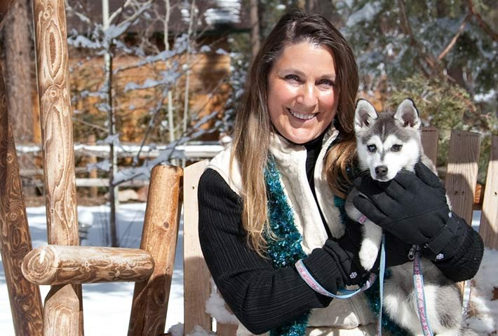Cathy and dogs at Gold Mountain Manor in Big Bear City, CA