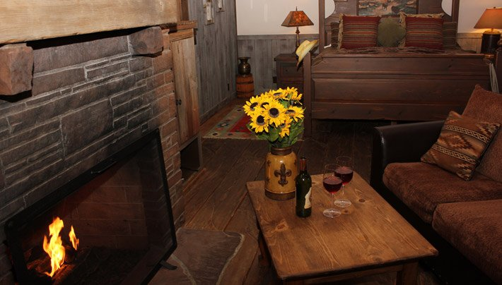Bed and Fire Place Lonesome Dove Villa Adobe Village Graham Inn