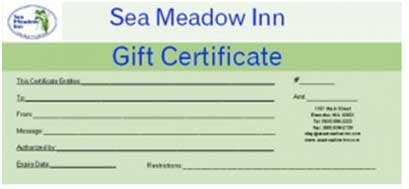 Gift Certificates at Sea Meadow Inn in Brewster, MA