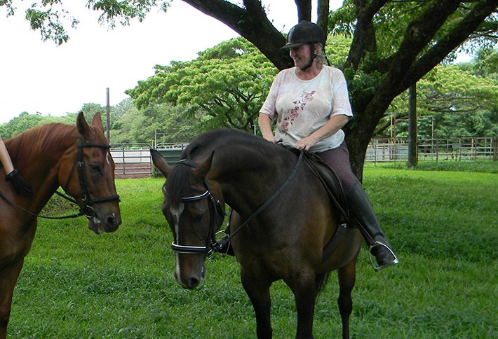maureen riding a horse at maureens bed and breakfast