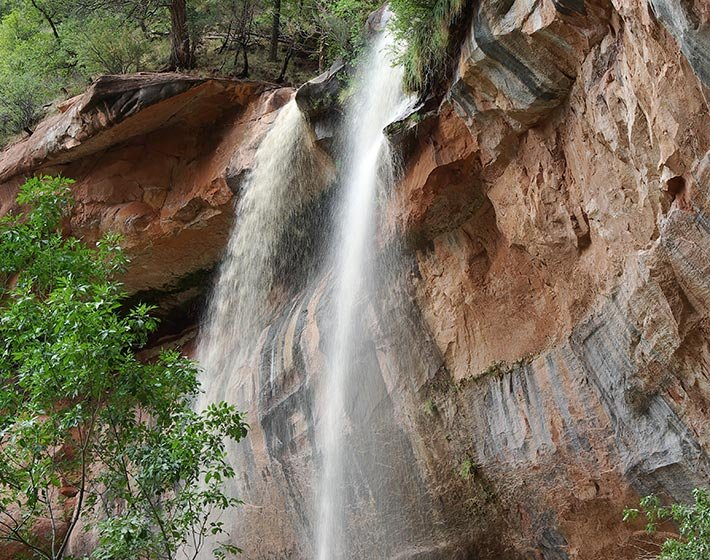 Emerald Falls in Zion National Park in Utah