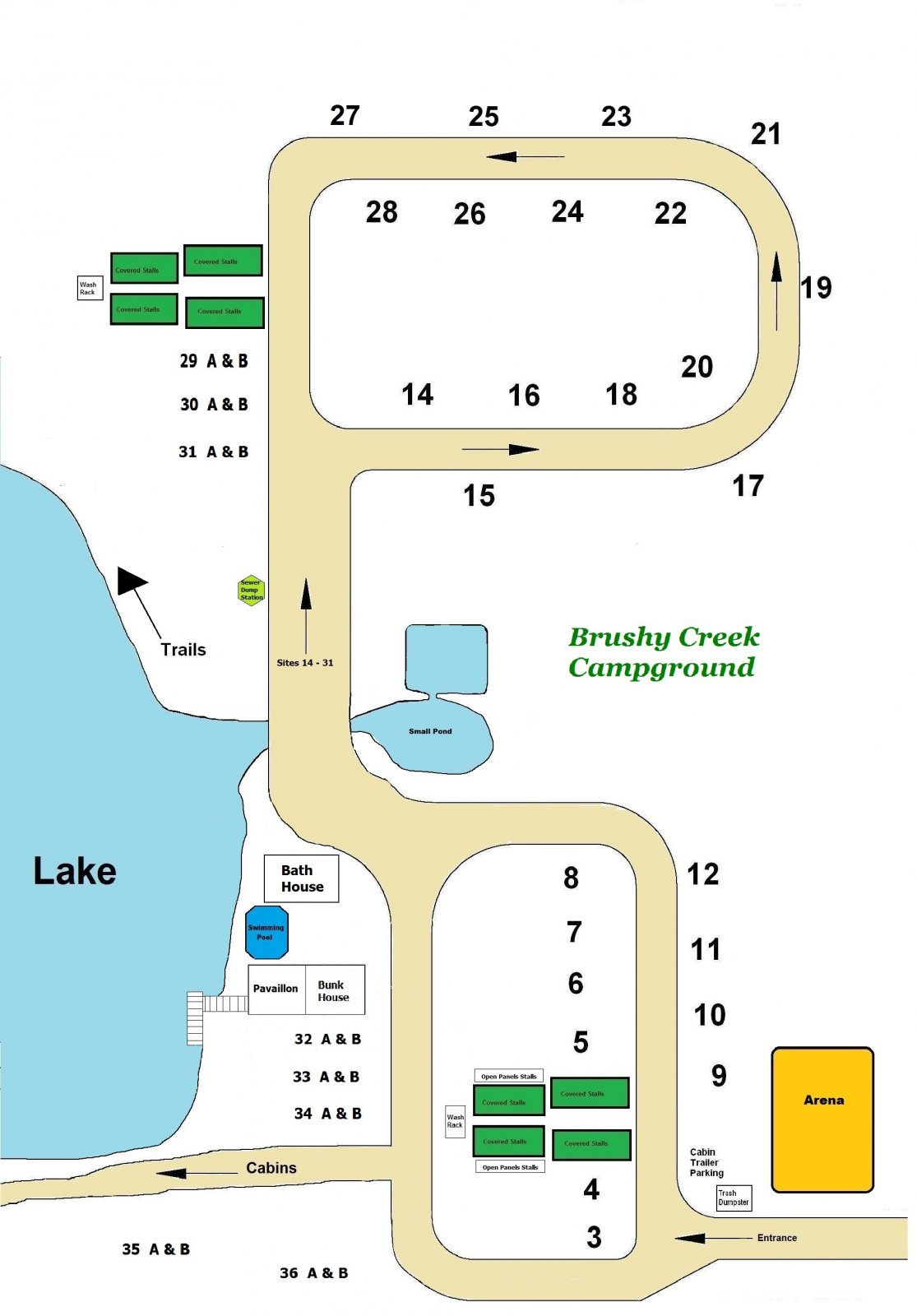 Brushy Creek Ranch Campground Map