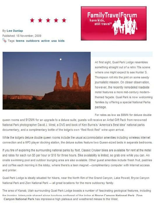 Family Travel Forum article about Quail Park Lodge in Kanab, UT