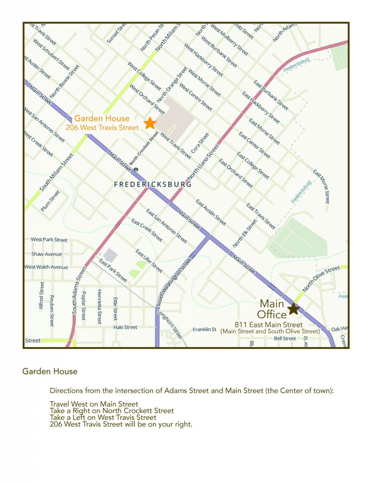 Garden House Map | The Maplestone, Luxury Lodging of Fredericksburg, Texas