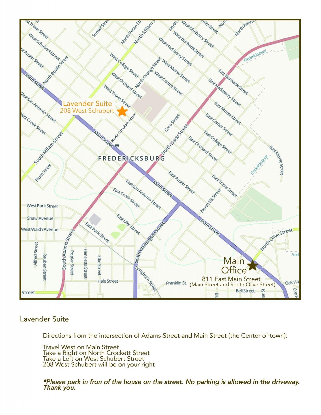Lavender Suite Map | The Maplestone, Luxury Lodging of Fredericksburg, Texas