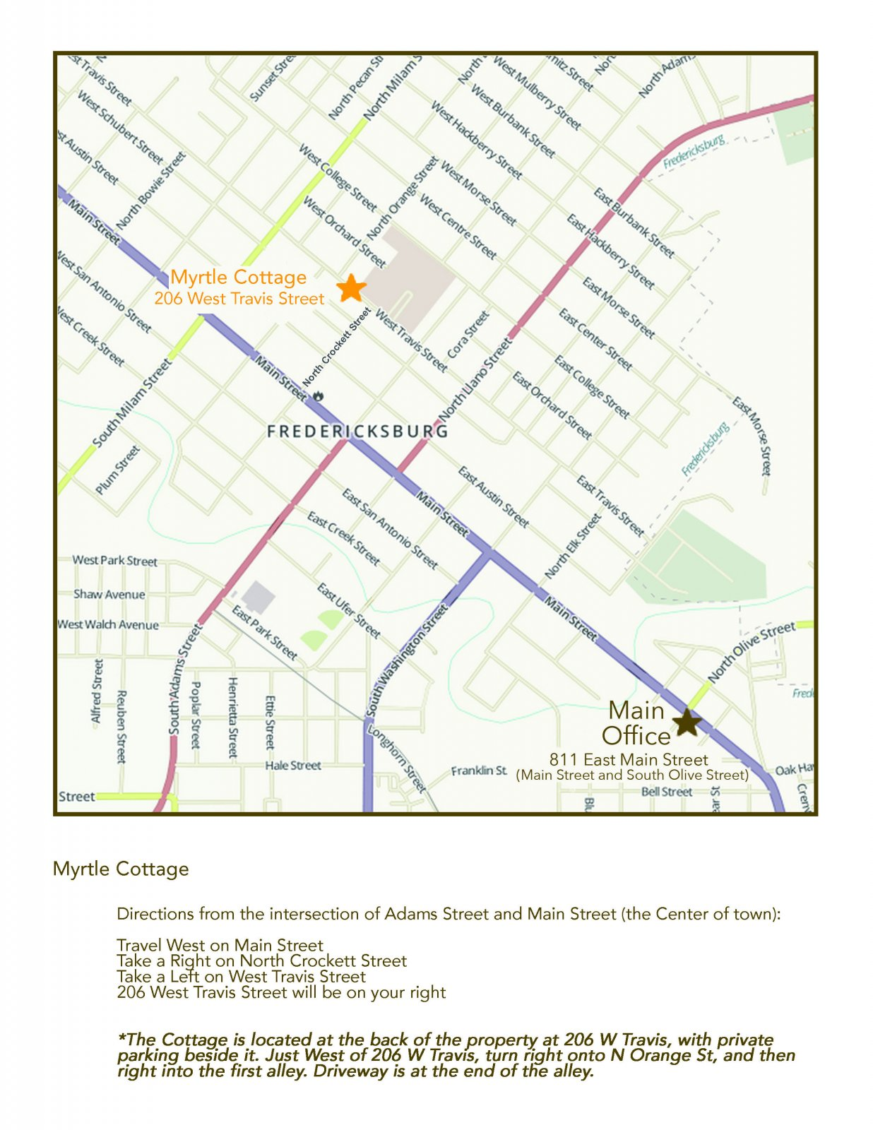 Myrtle Cottage Map | The Maplestone, Luxury Lodging of Fredericksburg, Texas