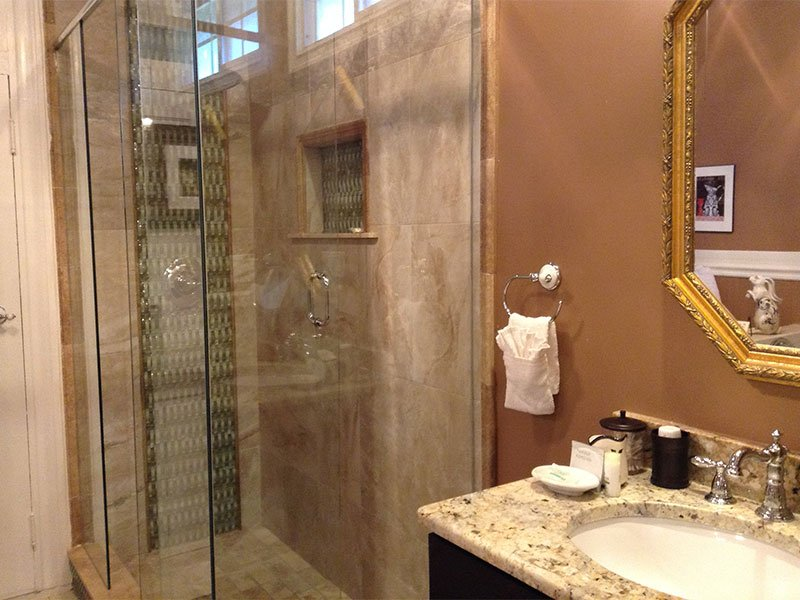 The shower and bathrom sink