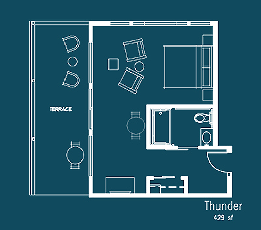 Thunder floor plan at Le Puy Inn in Newberg, Oregon