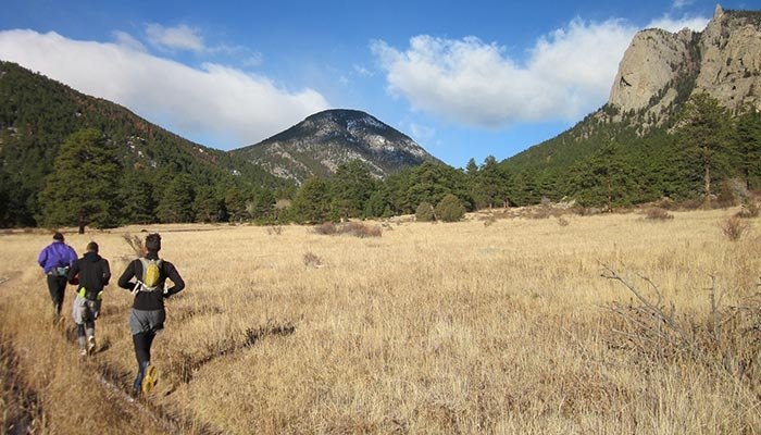 running on trails near McGregor Mountain Lodge