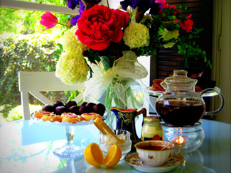Tea and flower arrangement