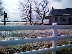 amish schoolhouse in winter