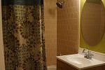 Dark green shower curtain bathroom
